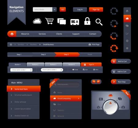 Se trata de un conjunto de elementos web personalizados como barras de navegación, botones, iconos, formularios, etiquetas, etc Elementos de navegación