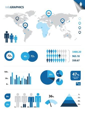 Cette image représente une collection d'éléments infographiques infographies Illustration