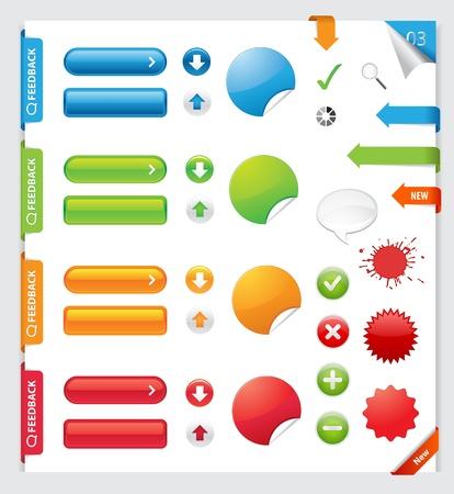 Éléments Bannières de consigne de collecte, boutons, étiquettes, autocollants Éléments de conception Web