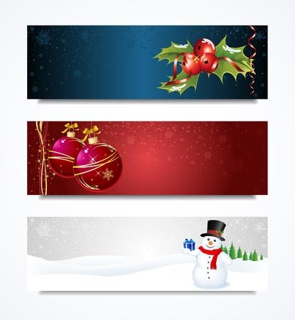 크리스마스 헤더 컬렉션 집합 일러스트