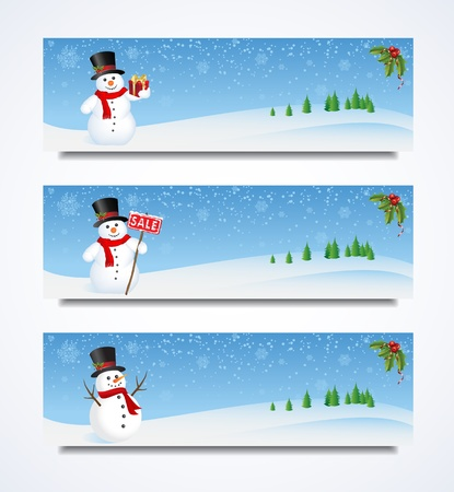 collection set of Snowman headers for Christmas.  Snowman Header Illustration