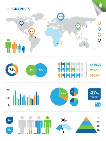 This image represents a collection of infographic elements.Infographics Illustration