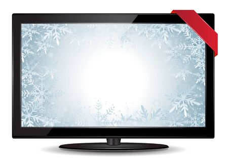 Vector illustration of an LCD Tv with a winter background  Winter TV Stock Vector - 16702578