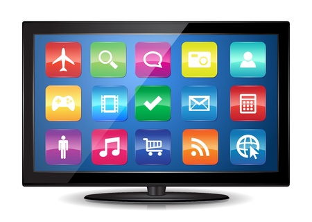 This image represents a Smart TV    Smart TV 向量圖像