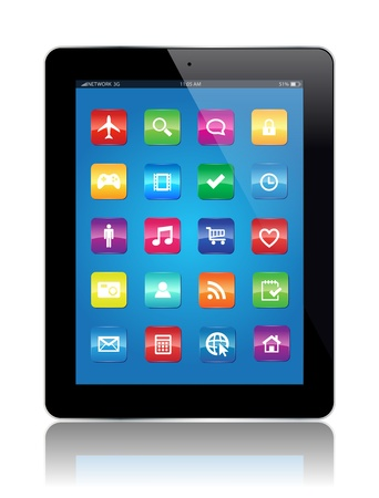 This image represents a Tablet with Apps    Tablet Apps Vector