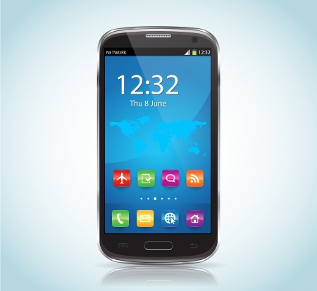 This image represents a SmartPhone with Apps    SmartPhone Apps
