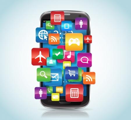 이 이미지는 애플 리케이션 스마트 폰과 스마트 폰을 나타냅니다 일러스트