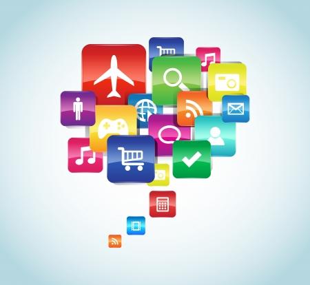 Cette image représente une illustration nuage App app Illustration