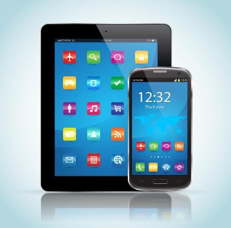 이 이미지는 태블릿 및 스마트 폰 태블릿 및 스마트 폰을 나타냅니다