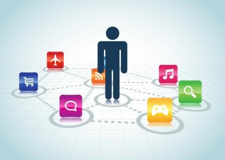 Concept de design centré sur l'utilisateur, l'utilisateur EPS 10 vector illustration Centré Design Apps