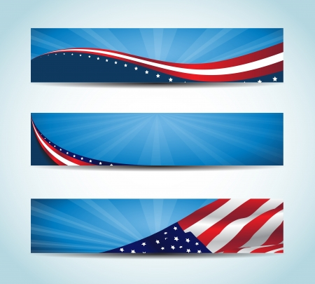 jour nuit: Collecte des Etats-Unis flag banni�res Banni�re conceptuels am�ricains Illustration