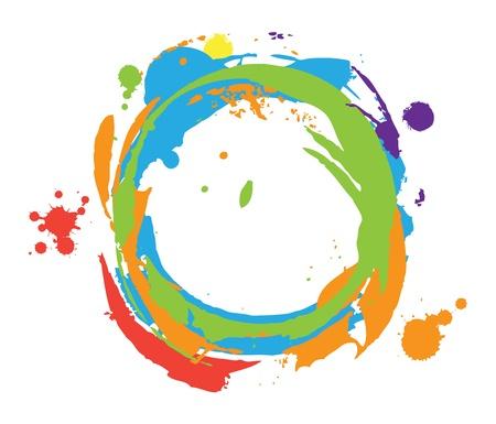 splash color: Dipingere rappresentazione astratta Nessun maglia o lucidi Vernice Colore Vettoriali