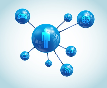 Social network abstract representation  It contains overlay blend mode and meshes Social Network Apps Illustration