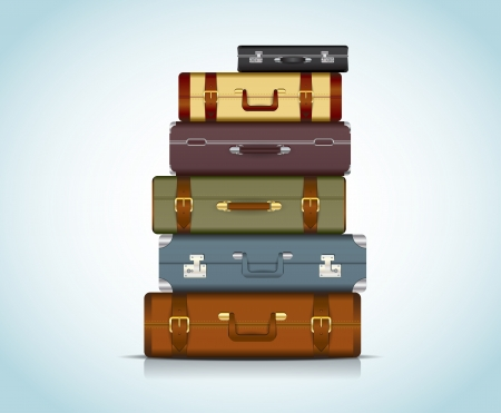 This image is a file representing a collection of travel suitcases    Travel Suitcases Vector