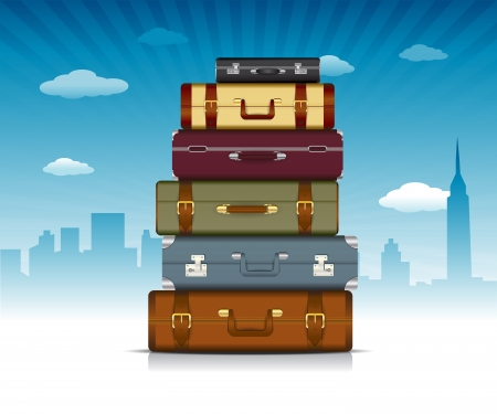 This image is a  file representing a collection of travel suitcases    Travel Background