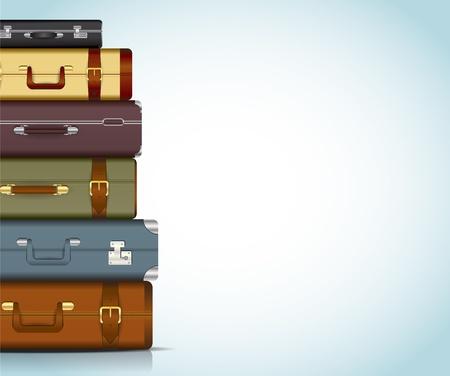 reiziger: Deze afbeelding is een bestand vertegenwoordigt een verzameling van reizen koffers Reizen Koffers Stock Illustratie