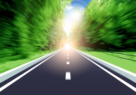 high speed: This image is a vector file representing speeding on a country road