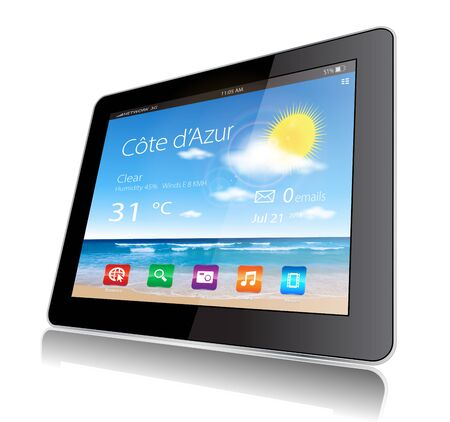 This image represents a Tablet Travel with a weather widget