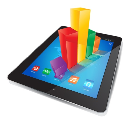 This image represents a Tablet with a Graph Chart