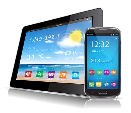 This image represents a Tablet and a Smartphone vectors  Illustration