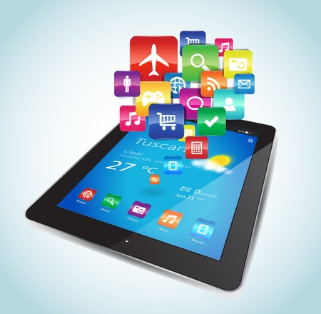 represents: This vector image represents a Tablet with Apps icons  Illustration