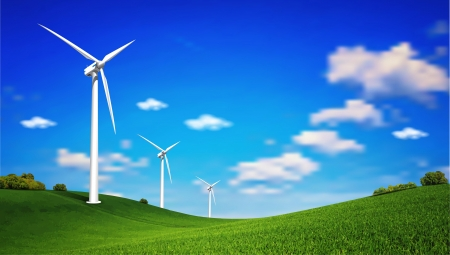 This image is a vector file represents a Wind Turbine landscape illustration  Stock Vector - 19285877