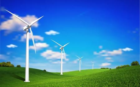 このイメージは、ベクター ファイルを表す風力タービンの風景イラストです。
