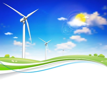 wind mills: This image is a vector file representing a Wind Energy Turbine.