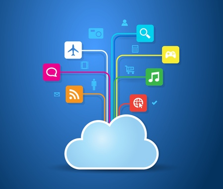 a cloud with apps connected. Stock Vector - 19581121