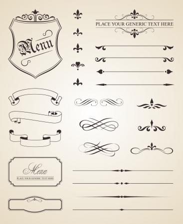 Cette image est un fichier vectoriel représentant un ensemble d'éléments de décoration calligraphiques la page.