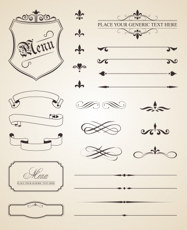 menu vintage: This image is a vector file representing a set of calligraphic and page decoration elements.