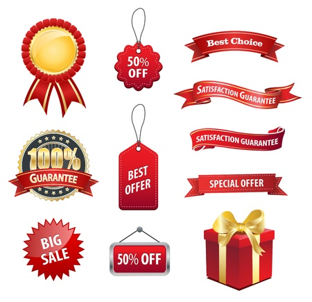 This image is a vector file representing a collection of Tag Label Sale Sticker elements