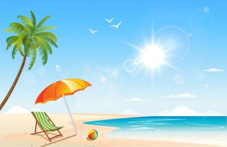 Deze afbeelding is een vector bestand wat neerkomt op een zomer geïnspireerd scene. Vector Illustratie