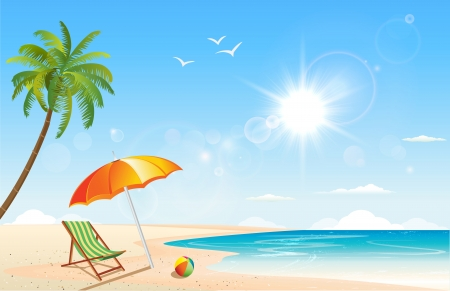 This image is a vector file representing a summer inspired scene. Vector
