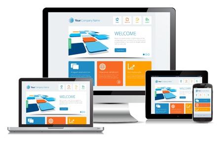 siti web: Concetto di design reattivo su diversi dispositivi multimediali.