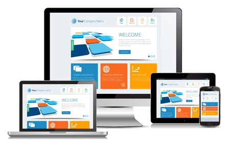 Responsive design concept on various media devices. Ilustrace