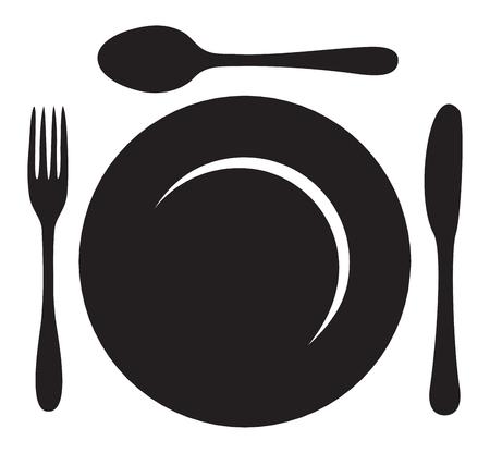 restaurateur: assiette avec une fourchette, couteau et cuill�re Illustration