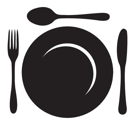 caterer: plate with fork, knife and spoon