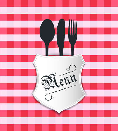 caterer: a restaurant table sheet, plate with fork, knife and spoon.