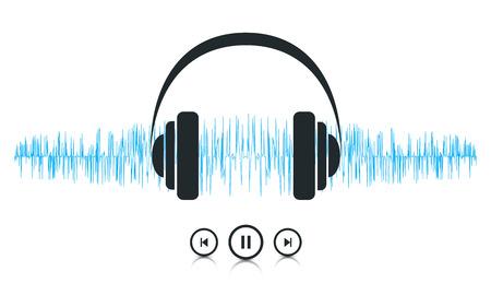이 이미지는 파도 소리 음악 플레이어의 개념을 나타내는 벡터 파일입니다.