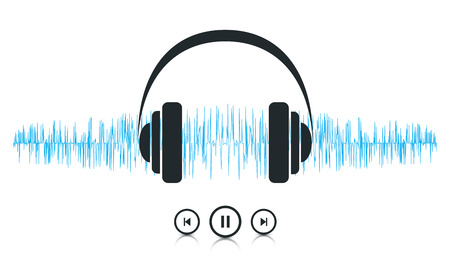 portable audio: This image is a vector file representing a sound waves music player concept.