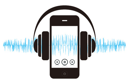 portable mp3 player: This image is a vector file representing a smart phone music player concept.