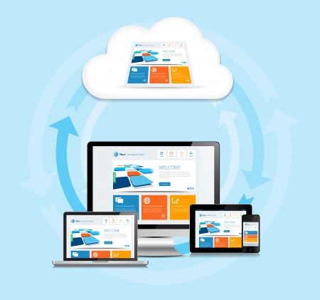 This image is a vector file representing a internet cloud computing concept.