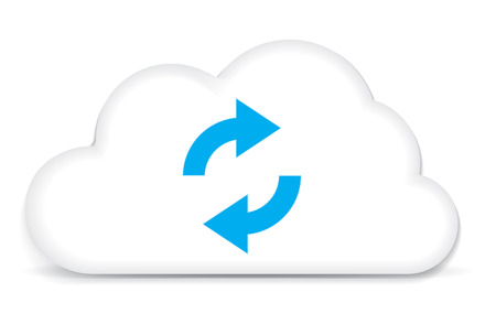 This image is a vector file representing a internet cloud backup concept. Illustration