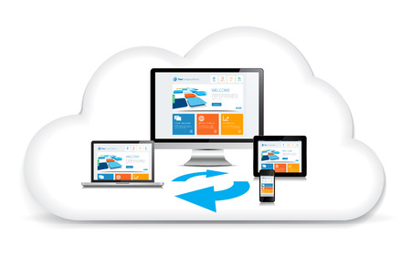 syncing: This image is a vector file representing a internet cloud backup concept. Illustration