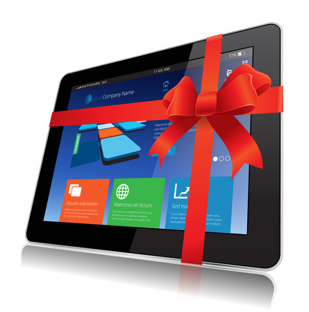 This image represents a Tablet Gift vector concept. Vector