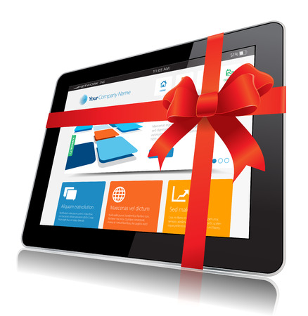 This image represents a Internet Tablet vector. Illustration