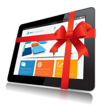 pr�sentieren: Dieses Bild stellt ein Internet Tablet Vektor. Illustration