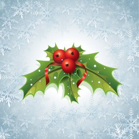 This image is a vector file representing a Holly Christmas Background. Illustration