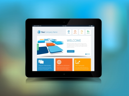 This image is a vector file representing a Tablet Technology with a blur background